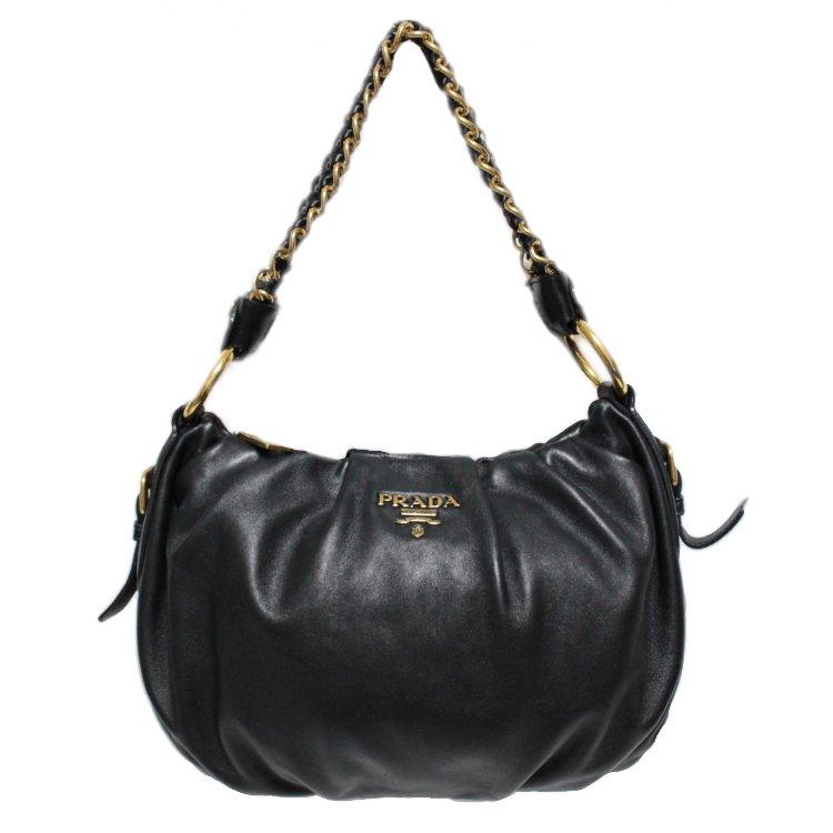 PRADA プラダ ヴィンテージ<br>カーフレザーロゴチェーンハンドバッグ
