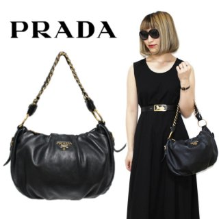 <img class='new_mark_img1' src='https://img.shop-pro.jp/img/new/icons14.gif' style='border:none;display:inline;margin:0px;padding:0px;width:auto;' />PRADA プラダ ヴィンテージ<br>カーフレザーロゴチェーンハンドバッグ