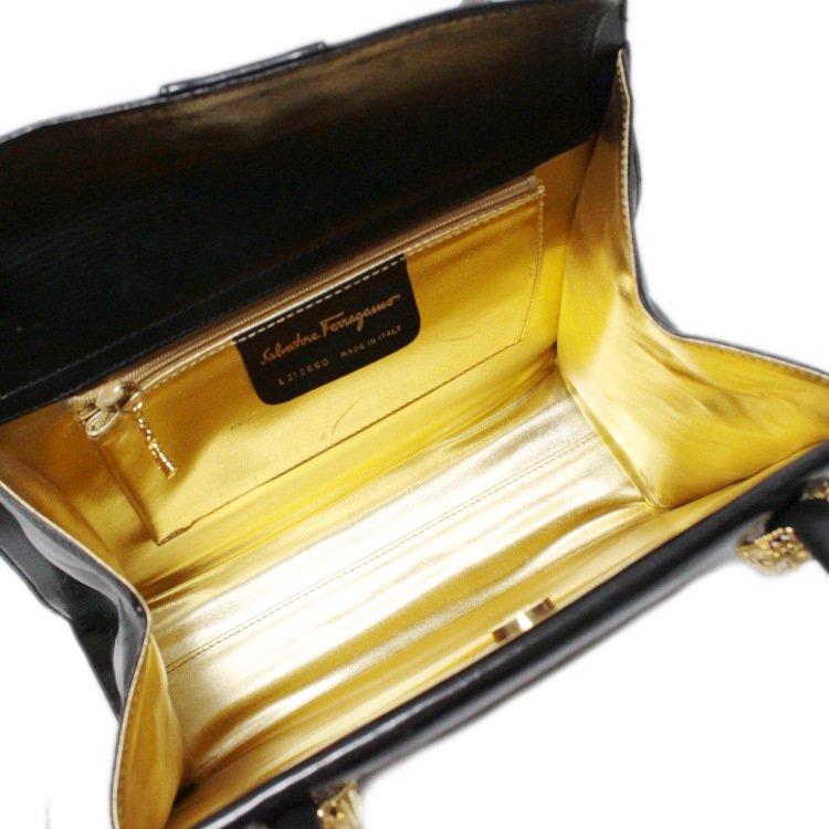 Ferragamo フェラガモ ヴィンテージ<br>ヒールモチーフゴールド金具レザーショルダーバッグ