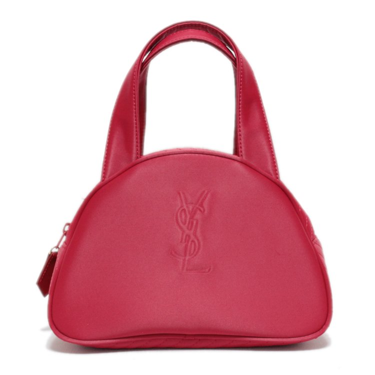 YSL イヴサンローラン ヴィンテージ<br>ロゴ×ナイロンハンドバッグ レッド