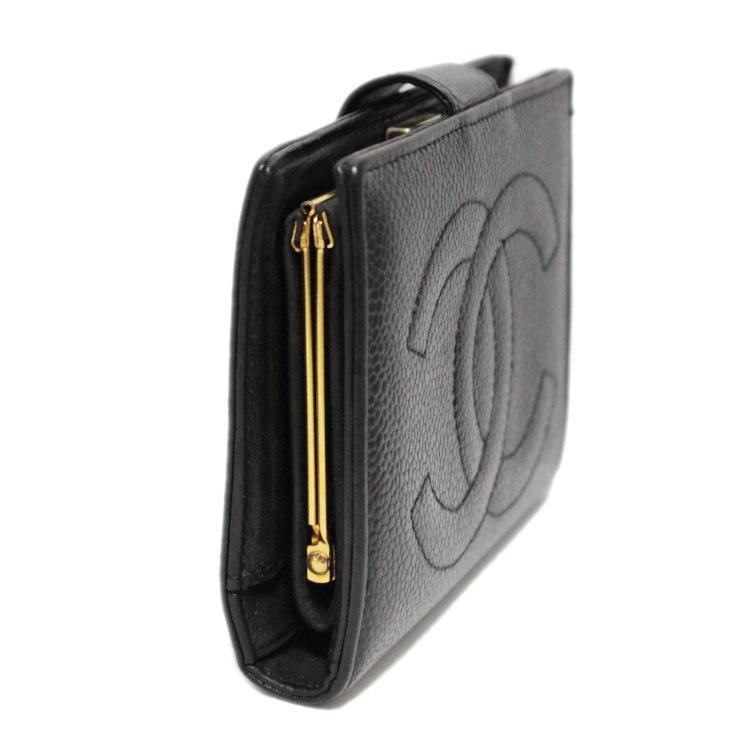 CHANEL シャネル ヴィンテージ<br>キャビアスキンココマークがま口二つ折り財布