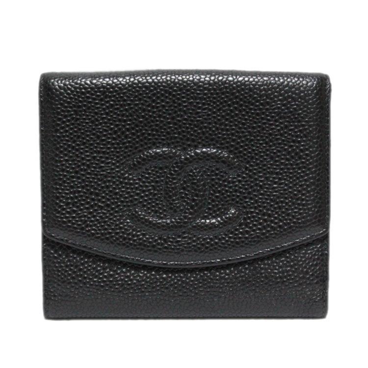 CHANEL シャネル ヴィンテージ<br>ココマークキャビアスキン二つ折り財布