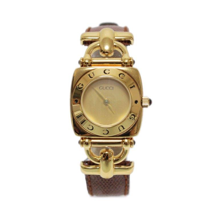 GUCCI グッチ ヴィンテージ<br>ホースビットレザーベルトQZ腕時計 6300L ブラウン