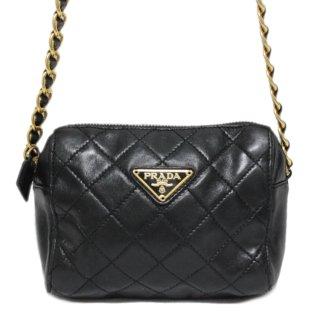 PRADA プラダ ヴィンテージ<br>キルティングレザーミニチェーンショルダーバッグ