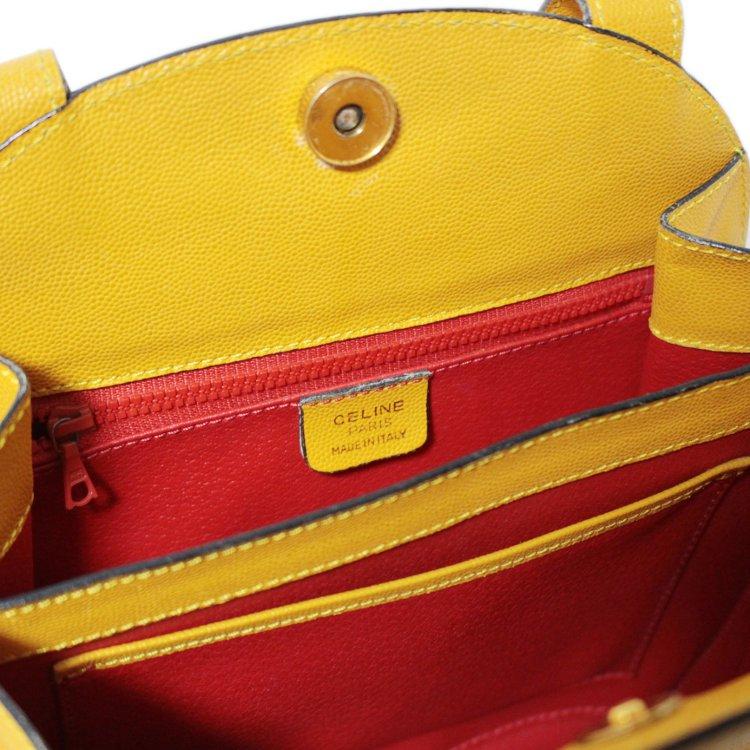 CELINE セリーヌ ヴィンテージ<br>型押しレザーハンドバッグ