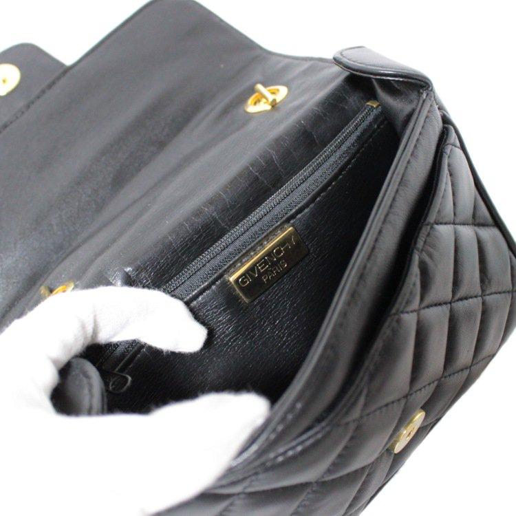 GIVENCHY ジバンシー ヴィンテージ<br>キルティングレザーミニチェーンショルダーバッグ