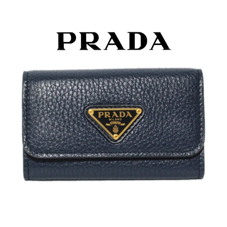 PRADA プラダ ヴィンテージ<br>三角ロゴ6連キーケース ネイビー 1PG222