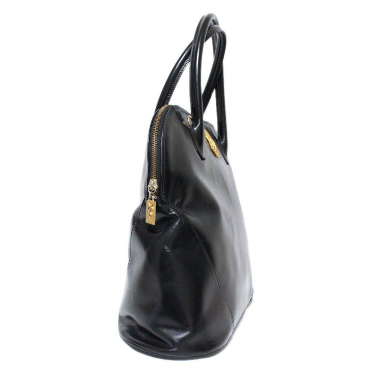 YSL イヴサンローラン ヴィンテージ<br>ボリード型ロゴレザーハンドバッグ