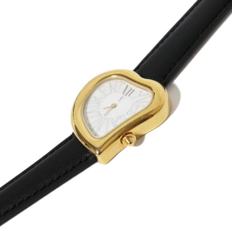 YSL イヴサンローラン ヴィンテージ<br>ハートモチーフレザーQZ腕時計