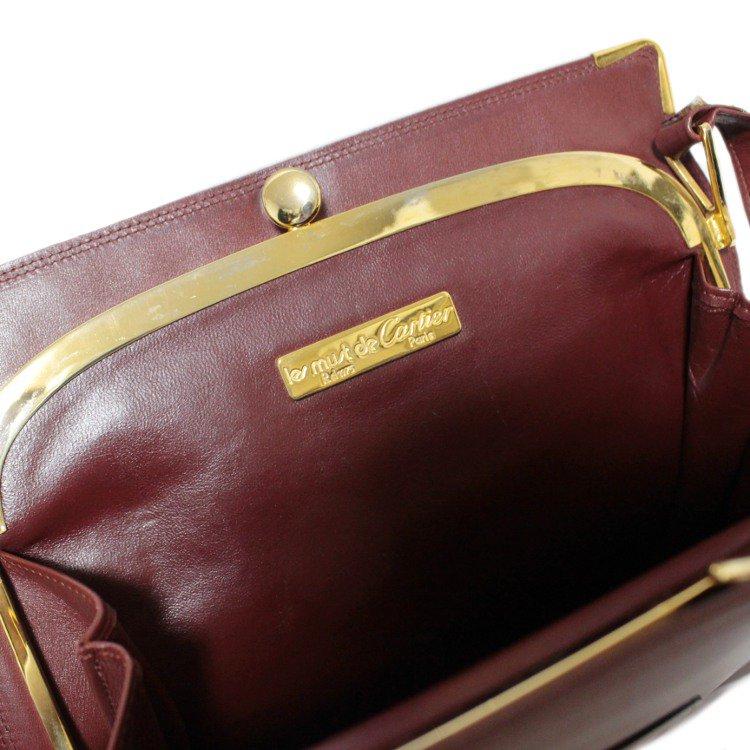 Cartier カルティエ ヴィンテージ<br>マストラインがま口スクエアショルダーバッグ