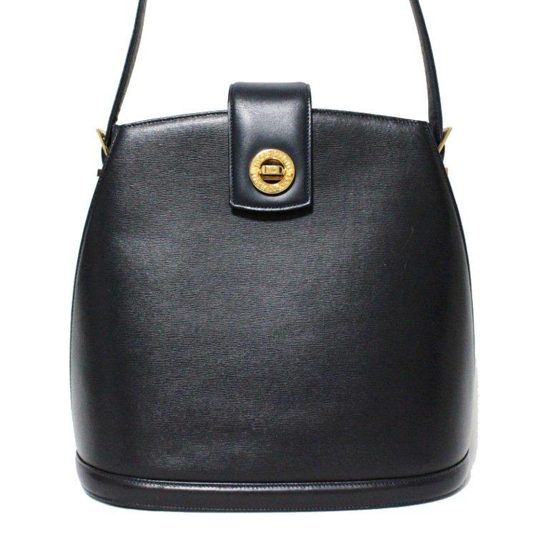 VALENTINO ヴァレンティノ ヴィンテージ<br>ターンロックレザーショルダーバッグ ネイビー