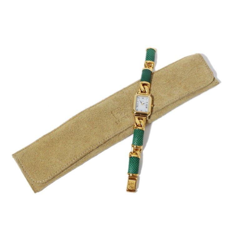 LOEWE ロエベ ヴィンテージ<br>チェーン×レザースクエアQZ腕時計 グリーン