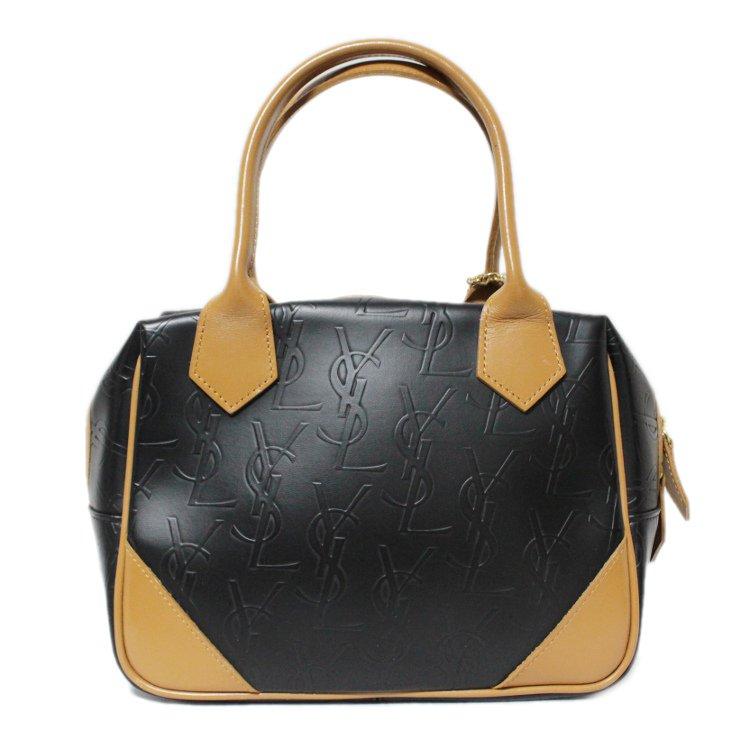 YSL イヴサンローラン ヴィンテージ<br>チャーム付ロゴ総柄バイカラーハンドバッグ