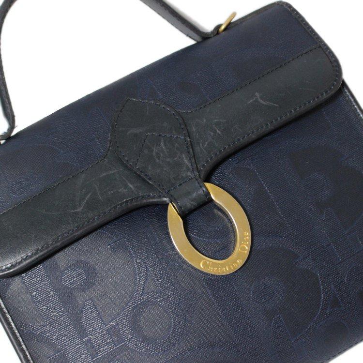 Dior ディオール ヴィンテージ<br>ロゴ総柄キャンバスハンドバッグ ネイビー