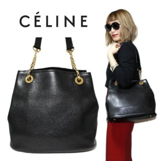 CELINE セリーヌ ヴィンテージ<br>型押しレザーチェーンショルダーバッグ
