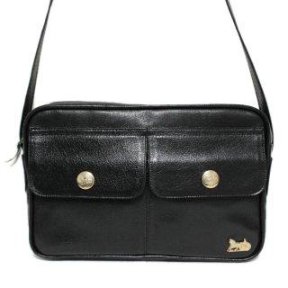 CELINE セリーヌ ヴィンテージ<br>ホースキャリッジWポケットレザーショルダーバッグ