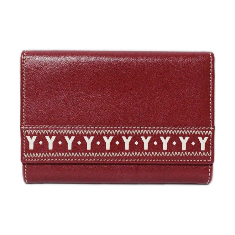 YSL イヴサンローラン ヴィンテージ<br>Yカットアウトレザー三つ折り財布 レッド