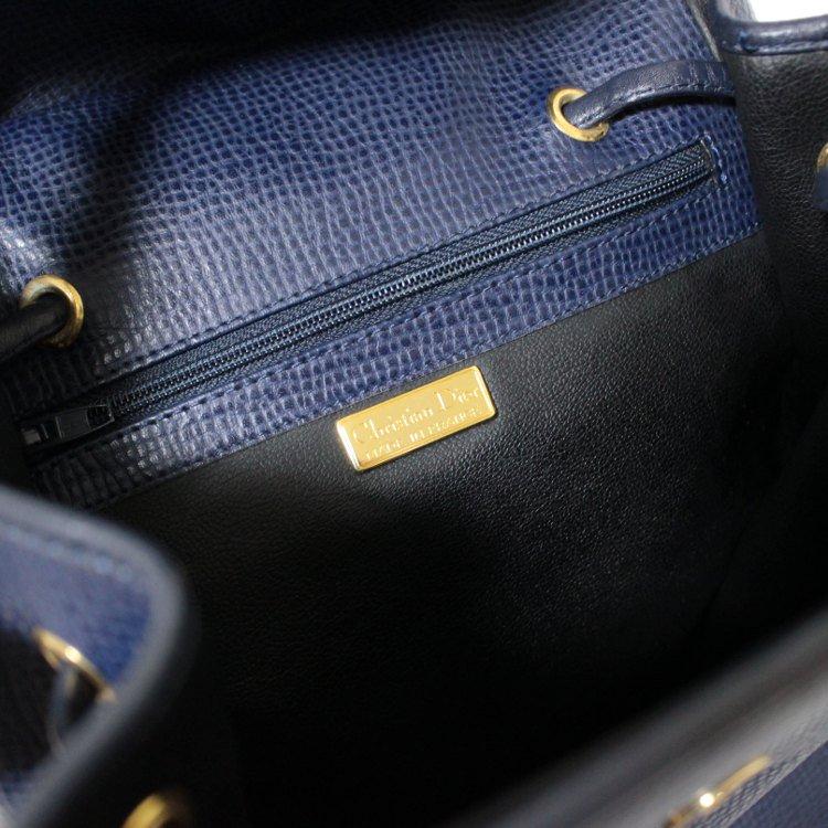 Dior ディオール ヴィンテージ<br>ロゴ金具型押しレザーリュック ネイビー