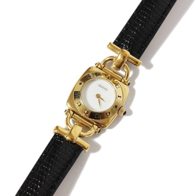 GUCCI グッチ ヴィンテージ<br>ホースビットレザーベルトQZ腕時計 6300L