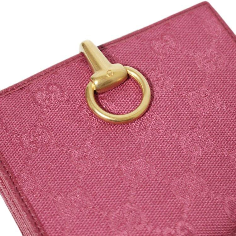 GUCCI グッチ ヴィンテージ<br>GGキャンバスWホック財布 ピンク