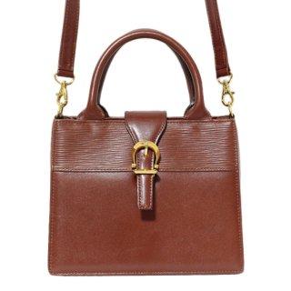 VALENTINO ヴァレンティノ ヴィンテージ<br>2WAY型押しレザーハンド/ショルダーバッグ ブラウン