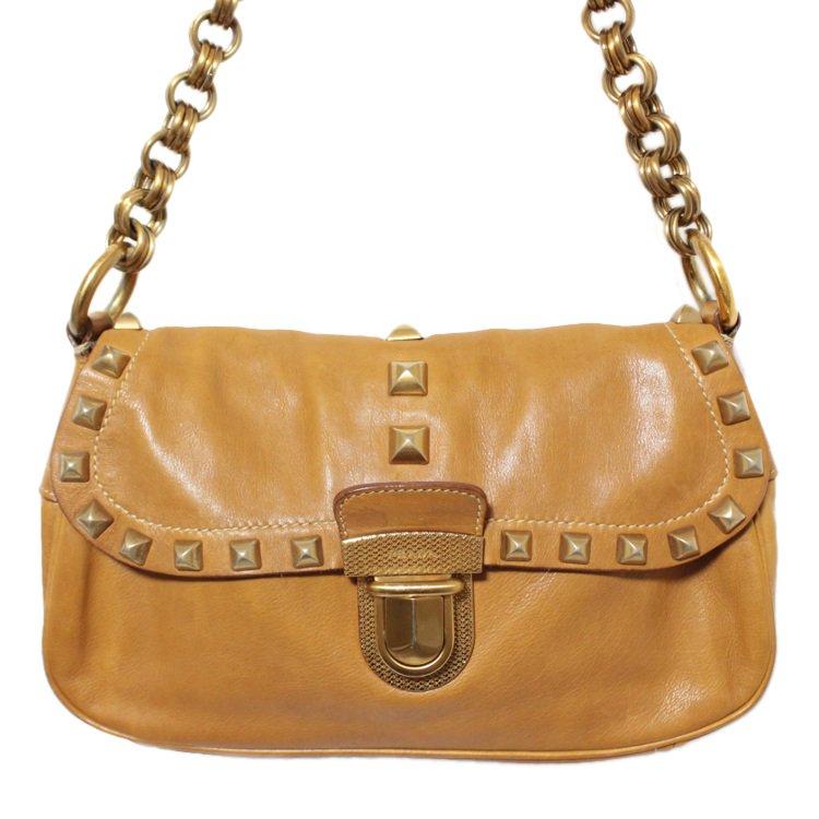 PRADA プラダ ヴィンテージ<br>スタッズレザーチェーンショルダーバッグ