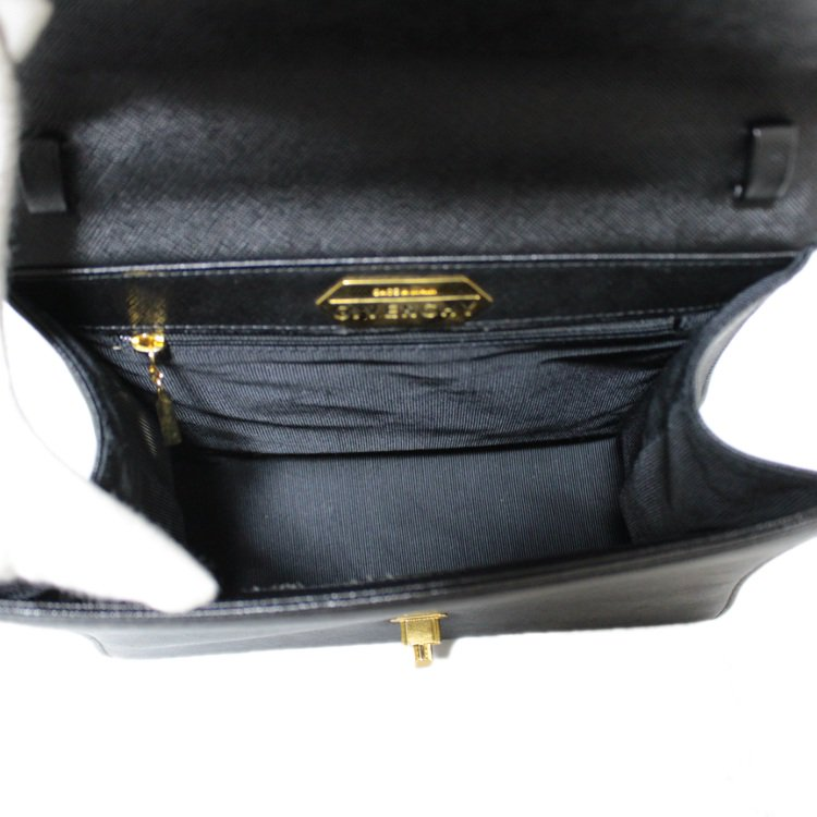 GIVENCHY ジバンシー ヴィンテージ<br>ターンロックロゴ金具レザーハンドバッグ
