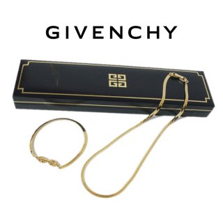 GIVENCHY ジバンシー ヴィンテージ<br>チェーンネックレス&ブレスレット セット