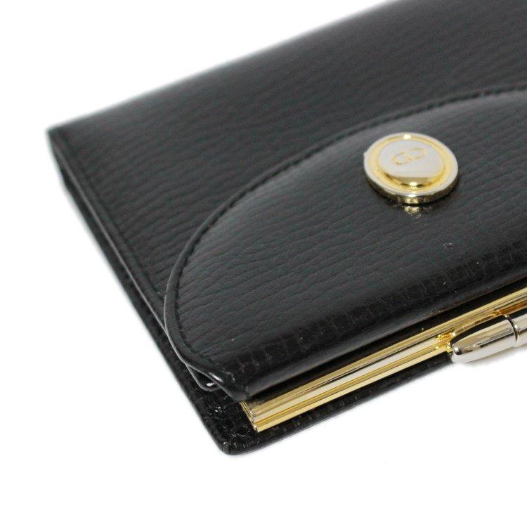 Dior ディオール ヴィンテージ<br>オバールロゴ金具レザーがま口二つ折り財布