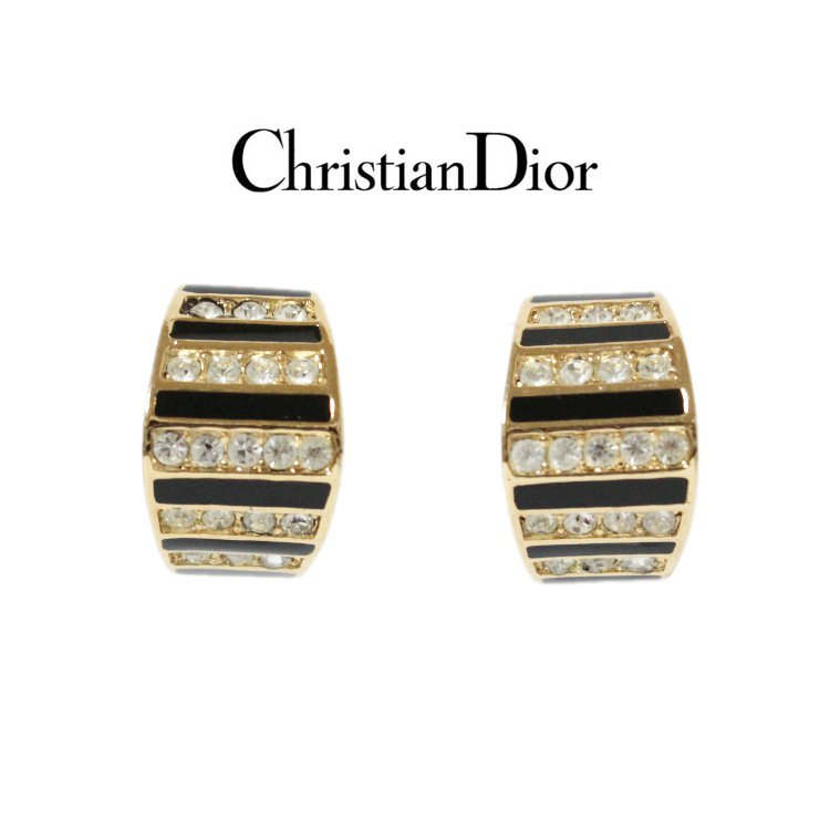 Dior ディオール ヴィンテージ<br>ラインストーンデザインイヤリング