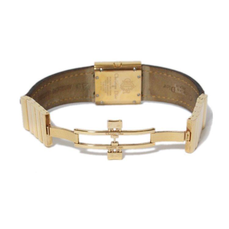 Dior ディオール ヴィンテージ<br>スクエアレザーベルトQZ腕時計 D80-140