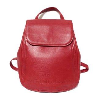 VALENTINO ヴァレンティノ ヴィンテージ<br>ロゴレザーリュック レッド