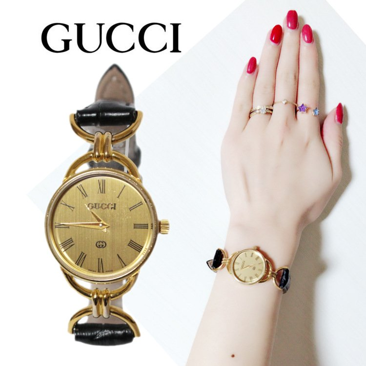 <img class='new_mark_img1' src='https://img.shop-pro.jp/img/new/icons14.gif' style='border:none;display:inline;margin:0px;padding:0px;width:auto;' />GUCCI グッチ ヴィンテージ<br>レザーベルトQZ腕時計 6000L
