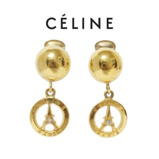 CELINE セリーヌ ヴィンテージ<br>PARISモチーフスウィングイヤリング