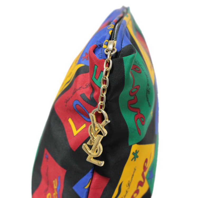 YSL イヴサンローラン ヴィンテージ<br>LOVEマルチカラークラッチバッグ