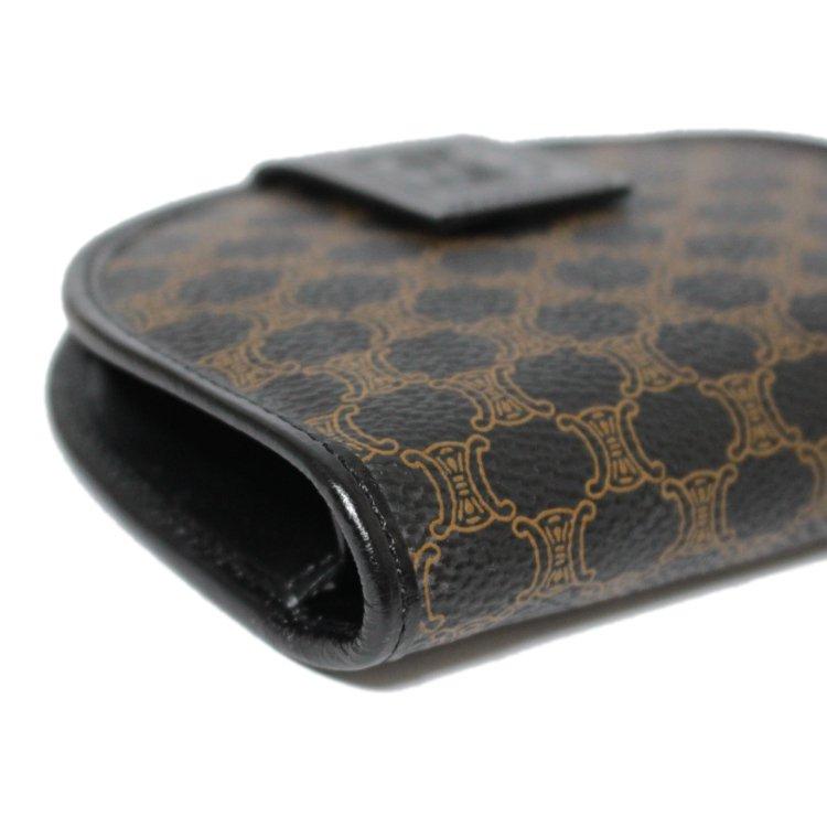 CELINE セリーヌ ヴィンテージ<br>マカダム柄二つ折り財布 ブラック