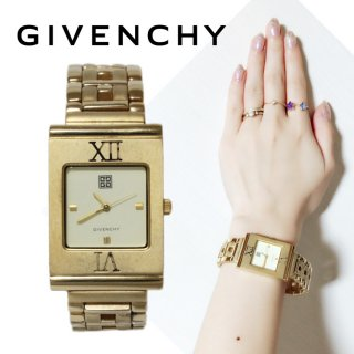 GIVENCHY ジバンシー ヴィンテージ<br>スクエアゴールドQZ腕時計