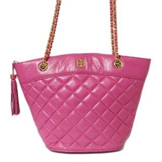 GIVENCHY ジバンシー ヴィンテージ<br>タッセル付キルティングチェーンショルダーバッグ ピンク
