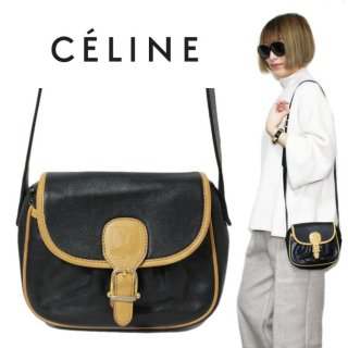 CELINE セリーヌ ヴィンテージ<br>バイカラーブラゾンミニショルダーバッグ