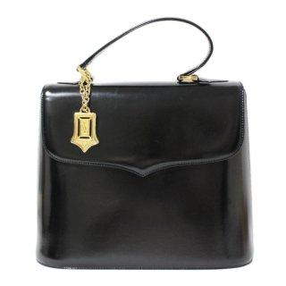 YSL イヴサンローラン ヴィンテージ<br>ロゴチャーム付カーフレザーハンドバッグ