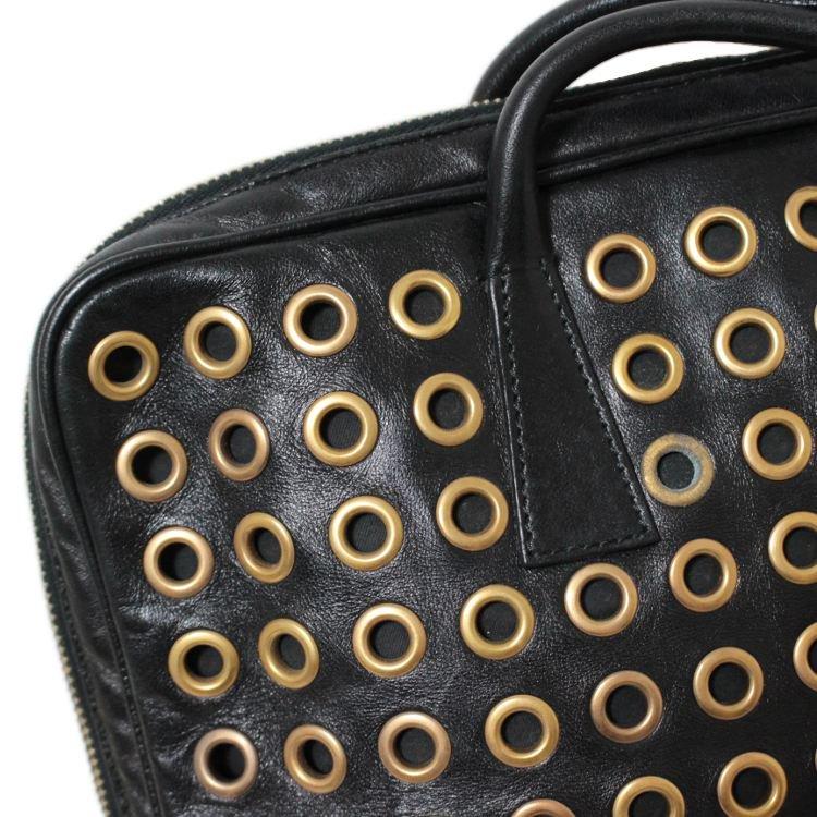 PRADA プラダ ヴィンテージ<br>ハトメデザインレザーハンドバッグ