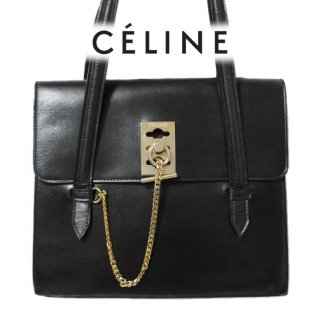 CELINE セリーヌ ヴィンテージ<br>ロゴ金具レザーハンドバッグ