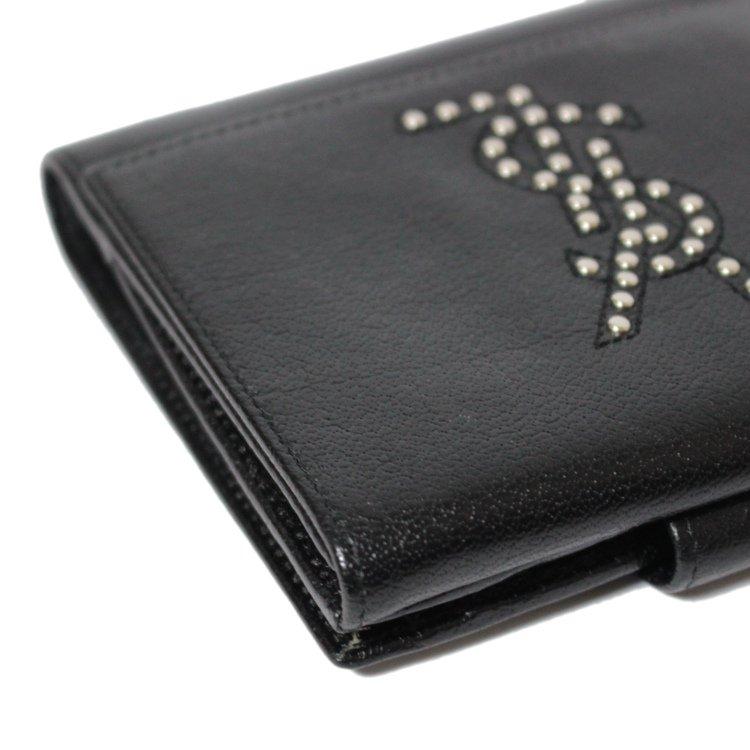 YSL イヴサンローラン ヴィンテージ<br>ロゴスタッズレザー二つ折り財布