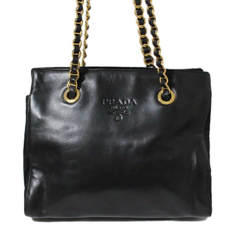 PRADA プラダ ヴィンテージ<br>レザー×ナイロンチェーンショルダーバッグ