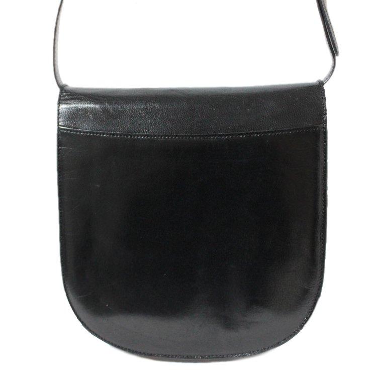 YSL イヴサンローラン ヴィンテージ<br>ロゴ型押しレザーショルダーバッグ