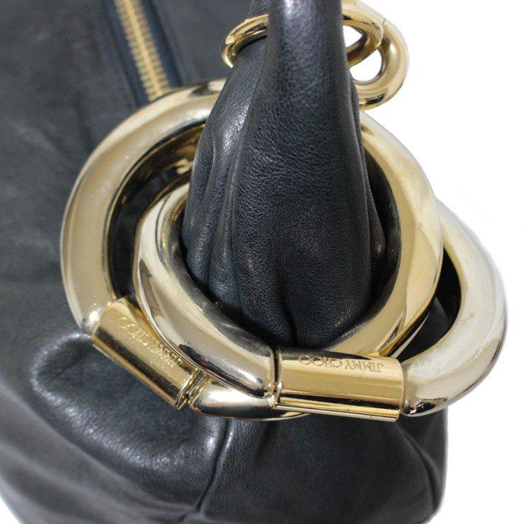 JIMMY CHOO ジミーチュウ ヴィンテージ<br>リング金具レザーハンドバッグ