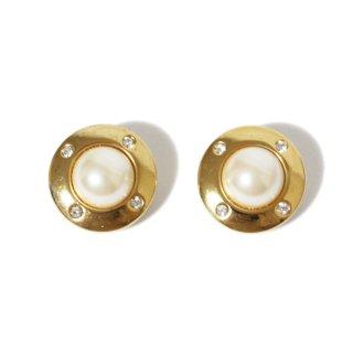 Dior ディオール ヴィンテージ<br>ラインストーン×フェイクパールイヤリング