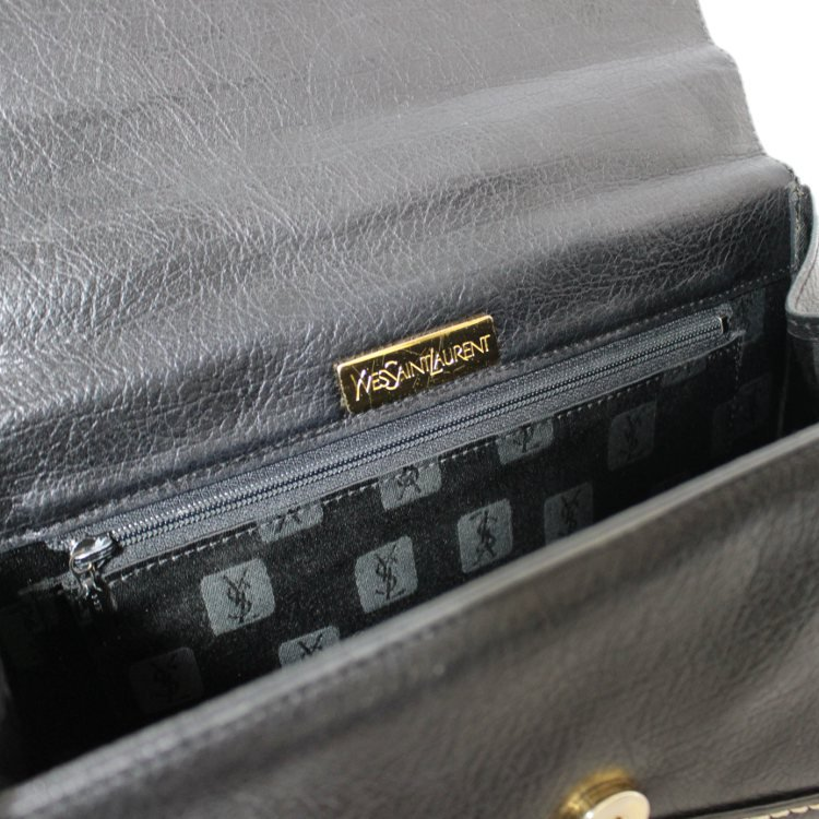 YSL イヴサンローラン ヴィンテージ<br>ロゴステッチケリー型ハンドバッグ