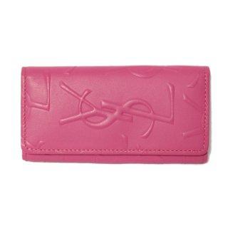 YSL イヴサンローラン ヴィンテージ<br>ロゴ総柄4連キーケース ピンク