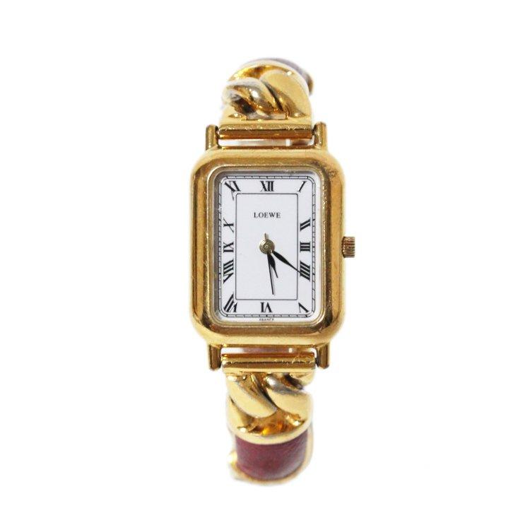 LOEWE ロエベ ヴィンテージ<br>チェーン×レザースクエアQZ腕時計 レッド